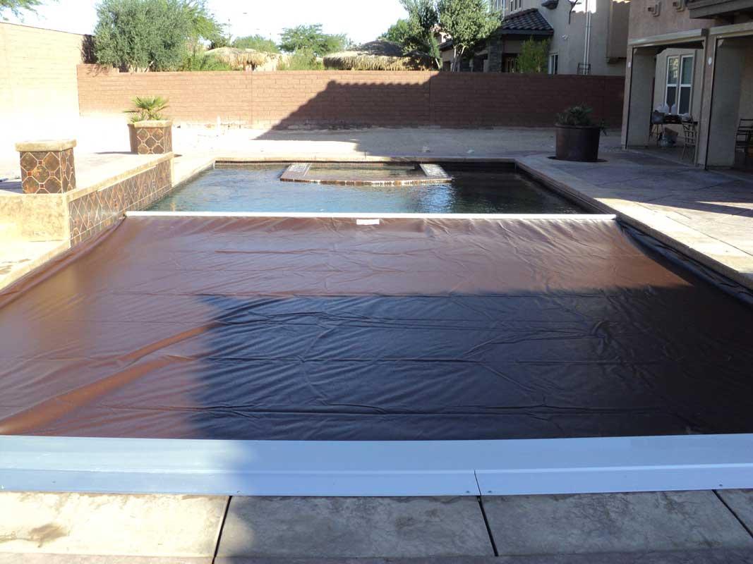 Brown Pool Cover Fabric With Pool Tiles Aqua Safe